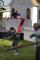 First ever First Friday free community party, held November 2016 at Featherston School, Lyon St, Featherston NZ. Featuring DJ MC Vinyl Burns, hula hooping with Coops Hoops, bubbles, chalk the walk, and free community fun.