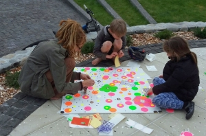 First Friday December in progress, in the Featherston NZ town Square. Huge thanks to sponsor's Sticky.co.nz for helping bring this Yayoi Kusama inspired public art project to life