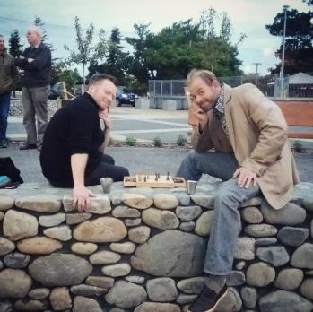 Chess in the Town Square at December First Friday, Featherston NZ