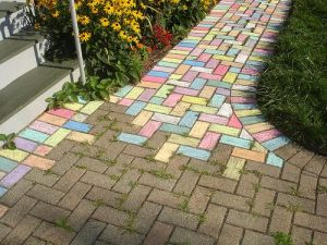 brick path coloured in with sidewalk chalk