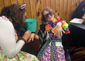 dressups, glitter tattoos, and face painting at featherston First Friday