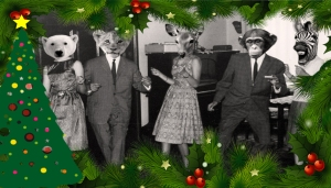 a group of people dancing in animal heads, with Christmas clip art