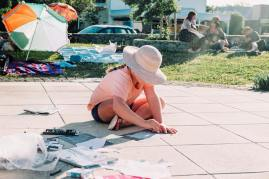 All pics by Carly Webber. An artist engrossed in her work
